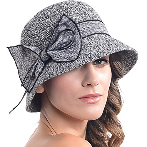 Women's Contton & Linen Thread Cloche Hat with Bow