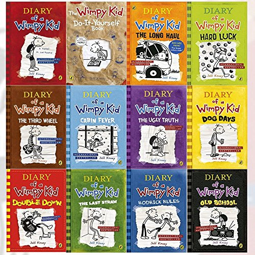Diary of a Wimpy Kid Series Collection 12 Books Set By Jeff Kinney (Diary of a Wimpy Kid,Rodrick Rules,The Last Straw,Dog Days,The Ugly Truth,Cabin Fever,The Third Wheel,Hard Luck