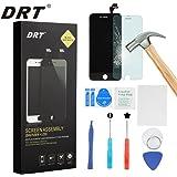 DRT iPhone 6 plus 5.5インチ交換修理用フロントパネル(フロントガラスデジタイザ)タッチパネル 液晶パネルセット 修理工具付属 (ブラック/ホワイト) (ブラック)