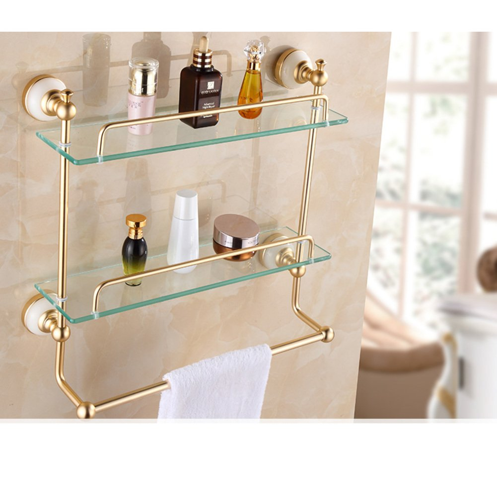 free shipping Champagne gold Bathroom Shelves/the shelf in the bathroom/ glass dressing table-G