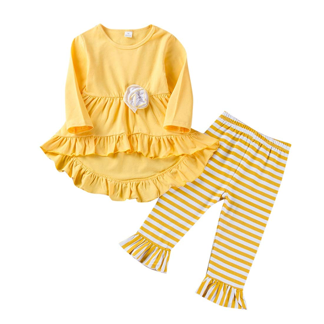 Toddler Girl Outfit Long Sleeve Ruffle Dress Tops Pants Fall Spring Clothes Set