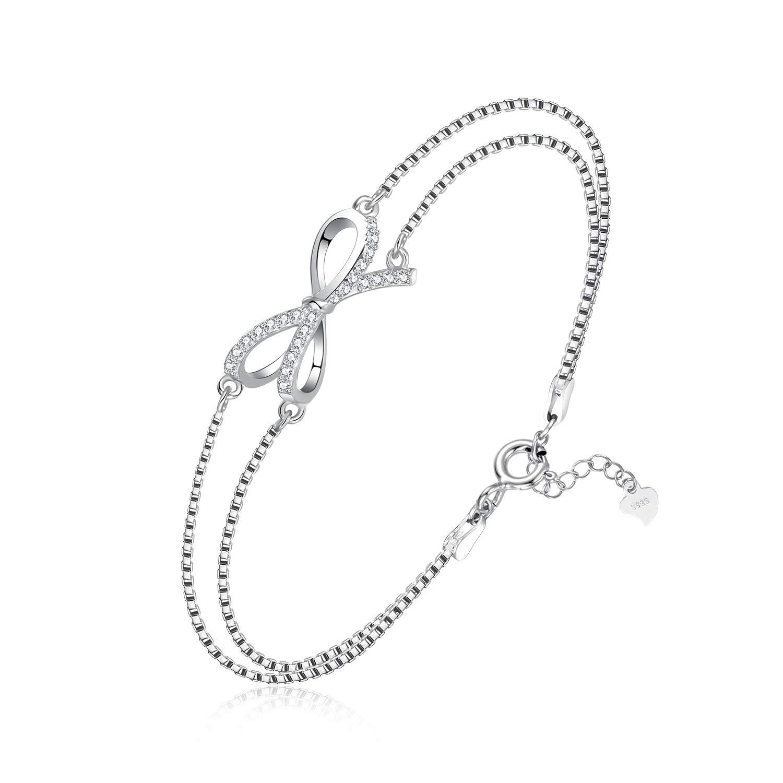 100/% 925 Sterling Silber Armband Zirkonia Frauen Schmuck Bogenform trendy NEU.