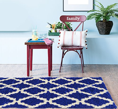 Blue Royal Rug (Adgo Chester Shaggy Collection Moroccan Mediterranean Trellis Lattice Design Vivid Color High Soft Pile Carpet Thick Plush Fluffy Furry Bedroom Room Shag Floor Rug, Royal Blue White, 3'7