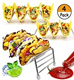 4 Pack - Stainless Steel Taco Holder, STNTUS INNOVATIONS Taco Stand Up Rack | Taco Party Platters and Serving Trays, 12 to 16 Space for Hard or Soft Shells