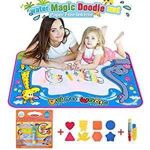 BBLIKE Water doodle Drawing Toys Mat 5070cm Large Size Water Graffiti Canvas Magic Doodle and 1 Coloring Books with 3 Magic Pen For Children Painting Games for 3+ years old toddlers