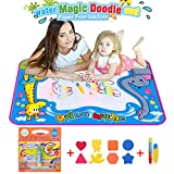 Water doodle Drawing Toys Mat ,BBLIKE 50*70cm Large Size Water Graffiti Canvas Magic Doodle and 1 Coloring Books with 3 Magic Pen For Children Painting Games With Template Baby Kids Toys suitable 3+ years old toddlers