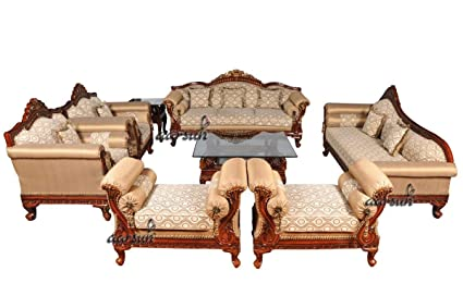 Aarsun Woods Teak Wood 3+1+1 Living Room Couch Traditional ...