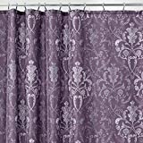 Purple Shower Curtain mDesign Decorative Vintage Damask Print - Easy Care Fabric Shower Curtain with Reinforced Buttonholes, for Bathroom Showers, Stalls and Bathtubs, Machine Washable - 72