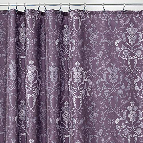 mDesign Decorative Vintage Damask Print - Easy Care Fabric Shower Curtain with Reinforced Buttonholes, for Bathroom Showers, Stalls and Bathtubs, Machine Washable - 72