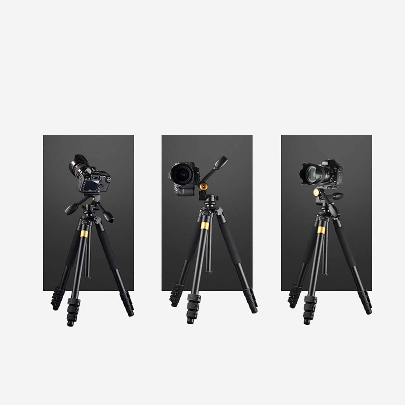 Double Handle Design with Storage Bag Black Professional Photography Aluminum Alloy Heavy Duty Tripod Up to 180cm Maximum Load 20KG CJGXJZJ Camera Tripod