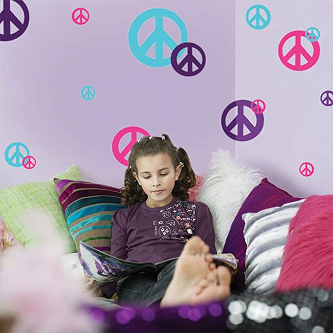 Create A Mural Peace Sign Wall Decals Girl Room Wall Decor Stickers Toys Games Amazon Com