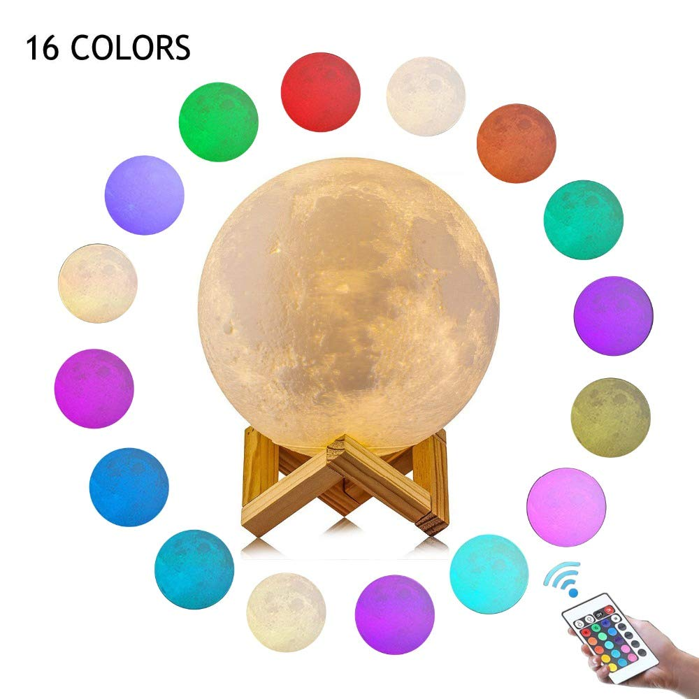 CHARISMAGIC 3D Moon Lamp 16 Colors 5.9 inch Night Stand Light Lunar with Remote,Hanging Light, Brightness Control, Touch Control | Night Rechargeable Moon Globe USB | Kids Birthday Gift Night Lamp