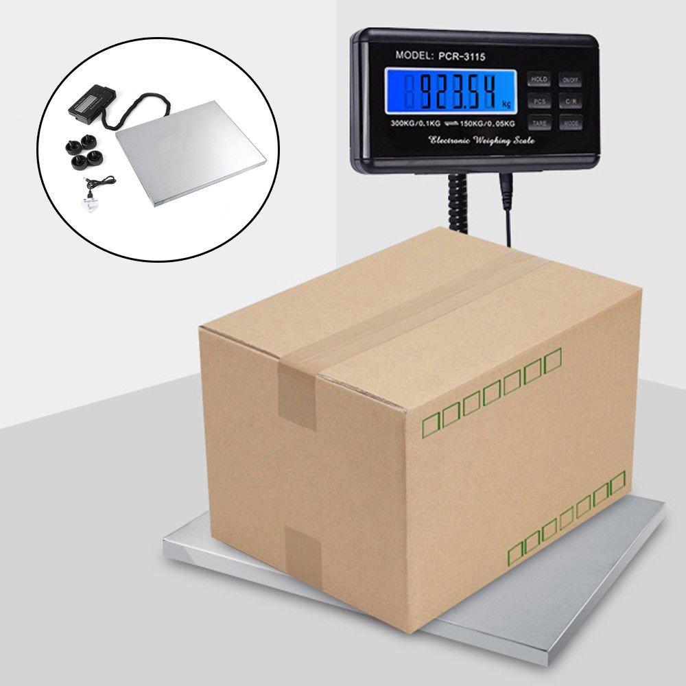 Balance Postale Electrique Ecran LCD avec Grande Plate-Forme en Acier Inoxydable, Capacité de 200kg/300kg GOTOTOP
