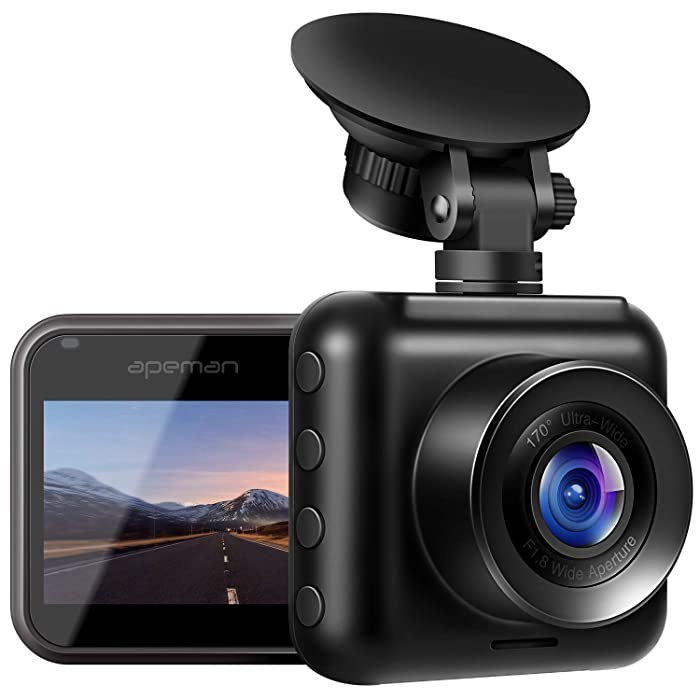 APEMAN Dash Cam 1080P Full HD Mini Car Driving Recorder 170° Wide Angle, Motion Detection, G-Sensor, Loop Recording, Night Vision