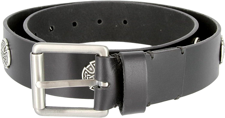 Hagora Men Black Genuine Leather Celtic Cross Conchos Silver Roller Buckle Belt