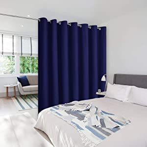 NICETOWN Room Divider Curtain Screen Partitions, Vertical Blinds for Sling Door, Blackout Window Curtains, Privacy Blinds for Patio, Extra Wide Drapes (Single Panel, 8.3ft Wide by 7ft, Navy Blue)