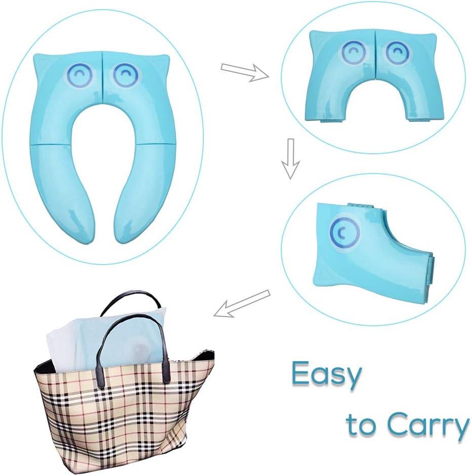 Amarillo Azul Pejoye Reductor WC Plegable Asiento Inodoro Ni/ños Material PP con 4 Almohadillas de Silicona Antideslizantes y 1 Bolsa de Transporte Evita la Propagaci/ón de G/érmenes