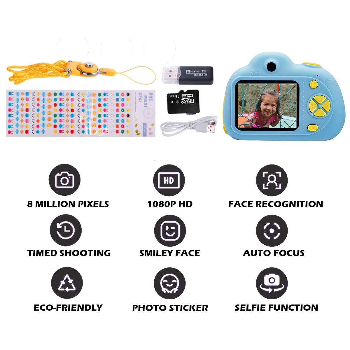 KIDOVE Kids Toys Fun Camera, Waterproof & Shockproof Child Selfie digital game Camcorder, 8MP 1080P dual camera Video Recorder, Creative Birthday Gifts for girls and boys, 16GB TF Card Included (Blue) by KIDOVE (Image #7)