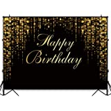 Funnytree 7x5ft Happy Birthday Party Backdrop Black and Gold Glitter Bokeh Sequin Spots Photography Background Golden…