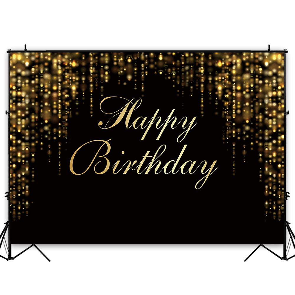 Funnytree 7x5ft Happy Birthday Party Backdrop Black and Gold Glitter Bokeh Sequin Spots Photography Background Golden Sparkle Shining Dots Baby Adult Abstract Banner Cake Table Decoration Photo Booth by Funnytree