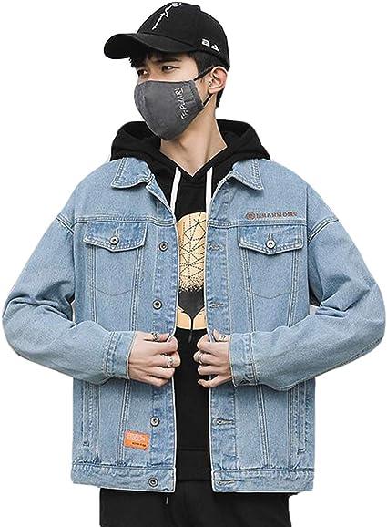 PPEIREE デニムジャケット メンズ 春秋 カップル ジージャン 無地 アウター ストレッチ gジャン カジュアルコート ゆったり 上品 ジャンパー シンプル 韓国風 オシャレ