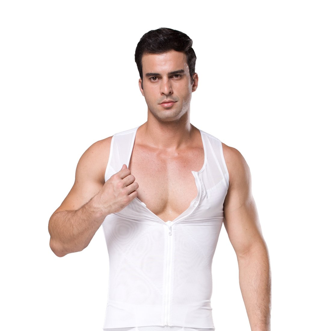 ZEROBODYS Men's Net Zipper Abdomen Body Shaper Slimming Shirt Elastic Sculpting Vest Tank Shaping Vest SS-M09