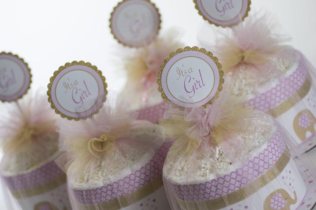 Five ''Little Elephant'' Pink/Gold Mini Diaper Cakes. Baby Shower Centerpieces.