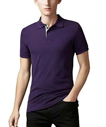 3ad1fe1b0 Burberry Brit Men's Check Placket Pique Dark Royal Purple Polo Shirt Modern  Fit (Small) at Amazon Men's Clothing store: