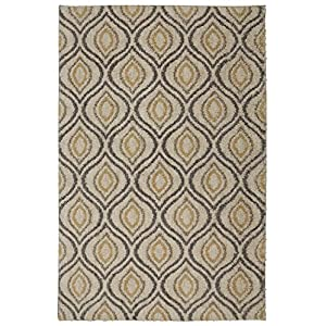 Mohawk Home Laguna Ogee Waters Tan Geometric Contemporary Shag Area Rug, 5' x 8', Tan and Grey