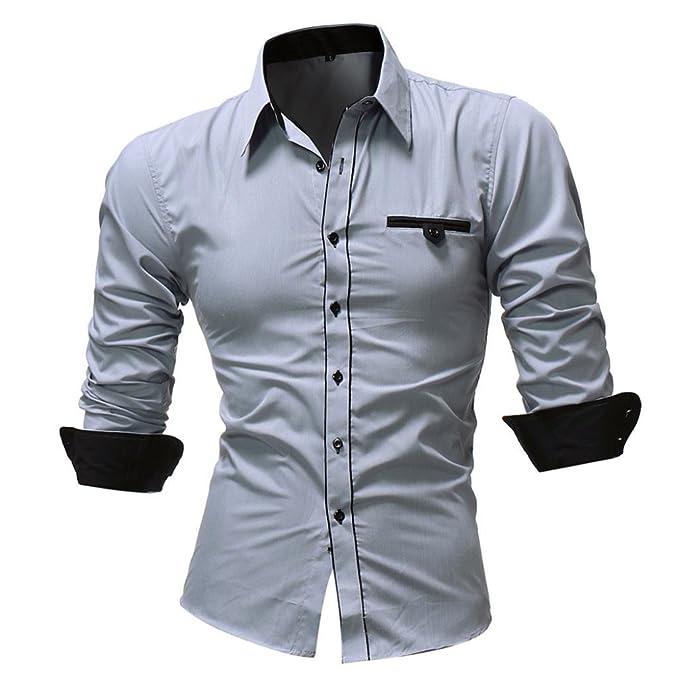 469555241a25 URSING Herren Hemd Langarm Slim Fit Kentkragen Brusttasche Langarmhemd  Herrenhemden Für Freizeit Business Party Herrenhemden Streetwear