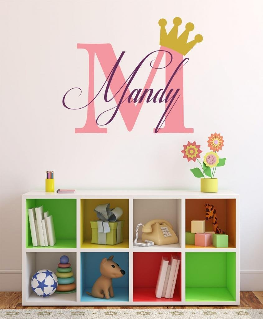 Baby Girl Initial Personalized Custom Name Vinyl Wall Decal 20'' W by 12'' H, Girl Name Wall Decals, Wall Decal, Name Wall Decal, Nursery Name Decal, Girls Names, PLUS FREE WHITE HELLO DOOR DECA