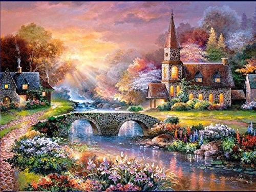 Fipart 5D DIY Diamond Painting Cross Stitch Craft Kit Wall Stickers for Living Room Decoration(12X18inch/30X45CM) Cabin