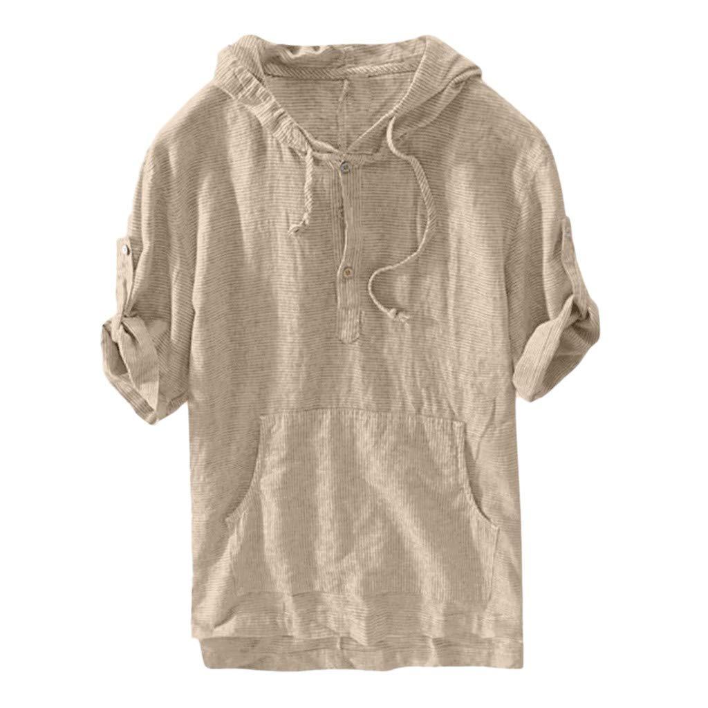 OrchidAmor Men's Boys Baggy Loose Pocket Striped Hooded Short Sleeve Retro T Shirts Tops 2019 Summer Khaki