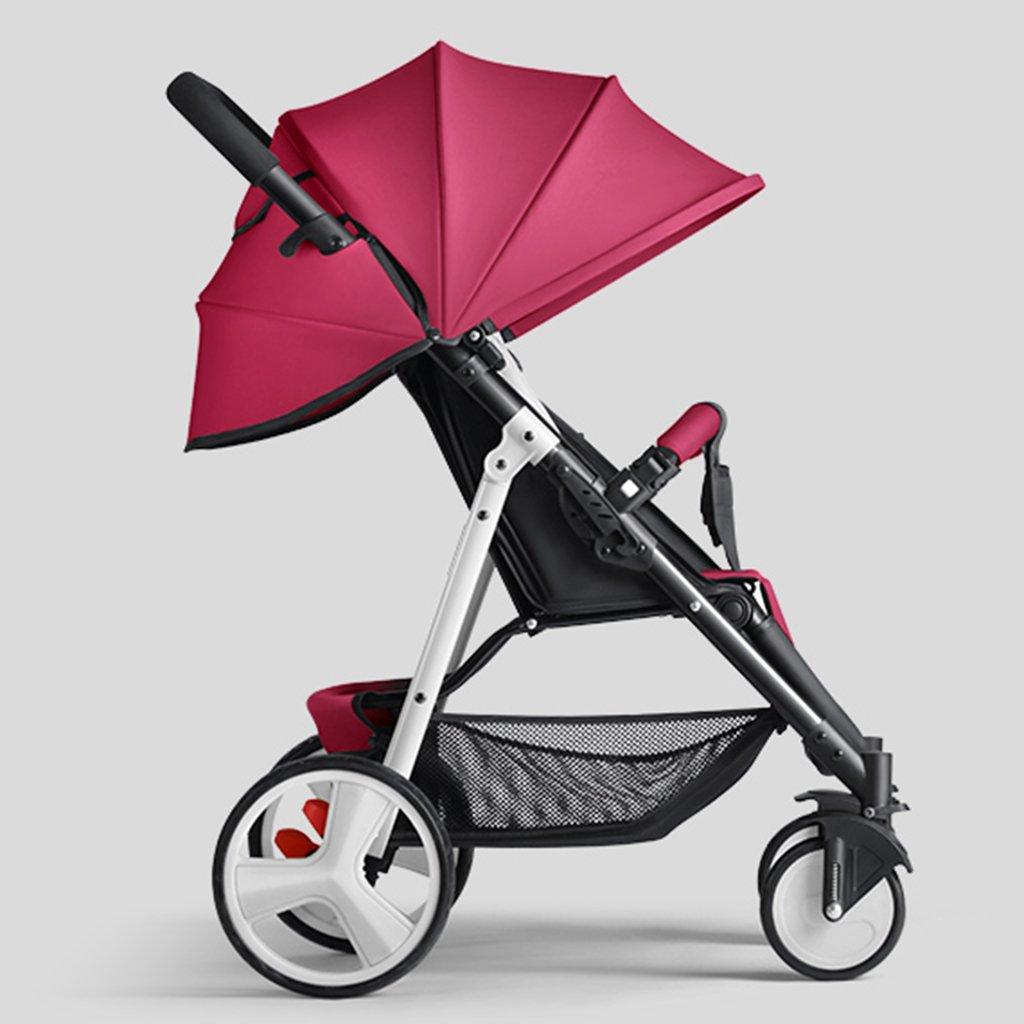 HAIZHEN マウンテンバイク ベビーカートは座ることができる/折りたたみ式の携帯用トロリー白いスチールフレーム調整サンシェード日除けアンチUVベビーキャリッジ 新生児 B07DL9DDSD Wine-red Wine-red