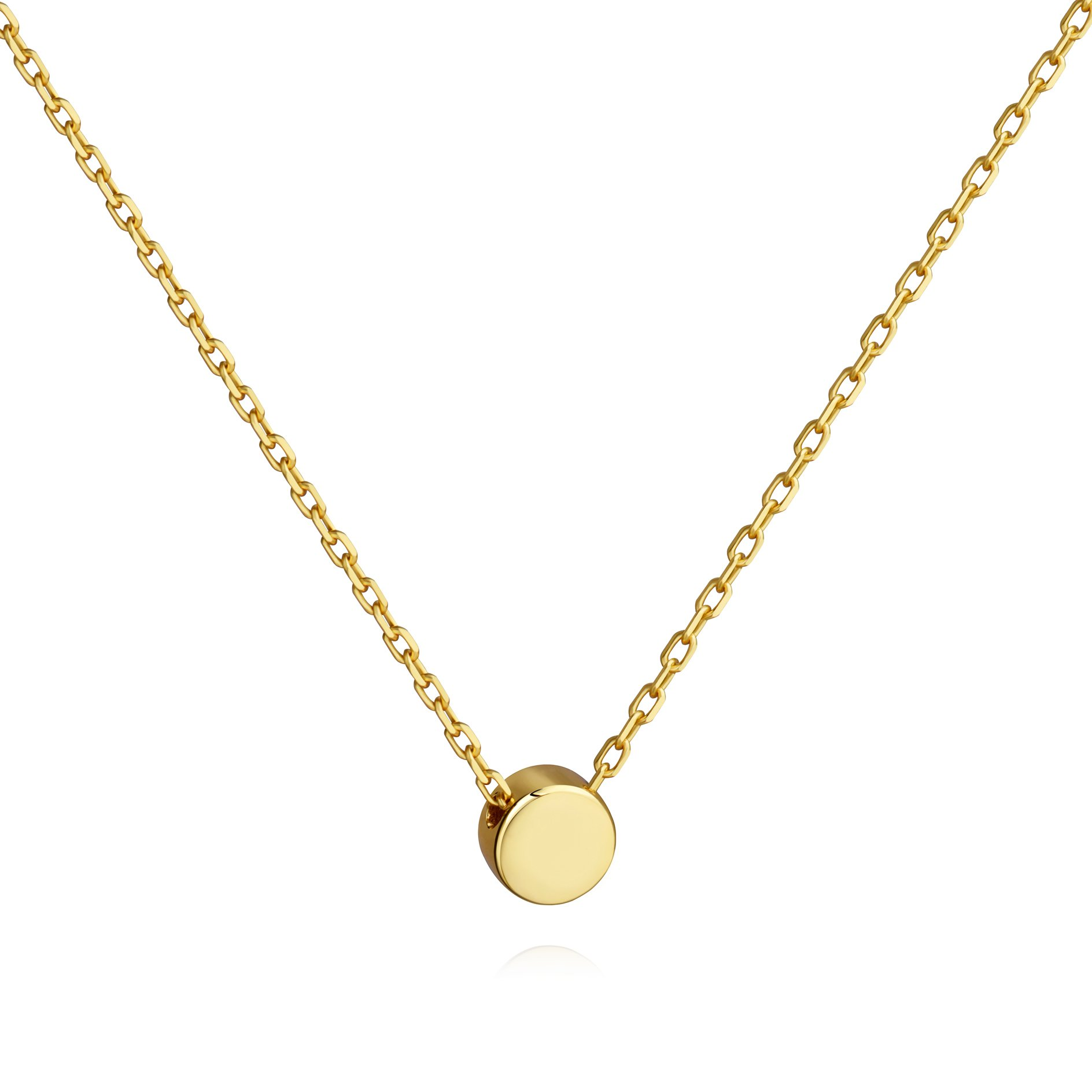 Tiny Dot Necklace Sterling Silver Floating Disc Circle Pendant Minimalist Necklace (gold)