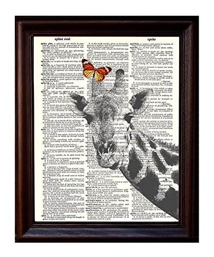 Mixed Media Poster on Vintage Dictionary Page 8.5x11 Dictionary Art Print Giraffe and Butterfly Printed on Recycled Vintage Dictionary Paper