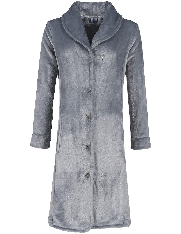 Pastunette 7062-330-4-956 Women's Silver Grey Fleece Dressing Gown Robe