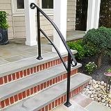 InstantRail 4-Step Adjustable Handrail (Black for Concrete Steps)