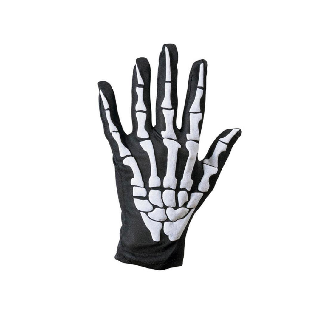 Respctful Halloween Skull Bone Skeleton Goth Racing Five Fingers Gloves (Free, White)