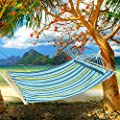 Ancheer 2 Person Cotton Fabric Hanging Hammock with Soft Pillow and Spreader Bar for Outdoor Camping