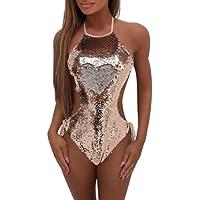 Brezeh Womens Swimwear,Womens One Piece Swimming Costume Hater Neck Backless Push-Up Padded Bra Monokini Bikini Swimwear Sequins Bandage Jumpsuit Beach Bathing Suit