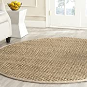 Safavieh Natural Fiber Collection NF114A Basketweave Natural andBeige Seagrass Round Area Rug (8 Diameter)