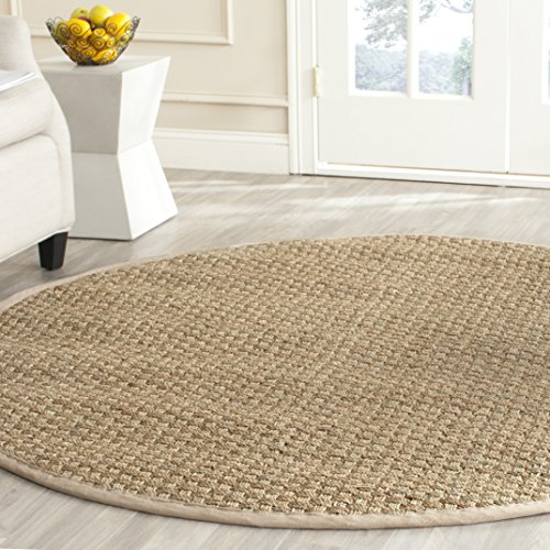 Safavieh Natural Fiber Collection NF114A Basketweave Natural and Beige Summer Seagrass Round Area Rug (8' -