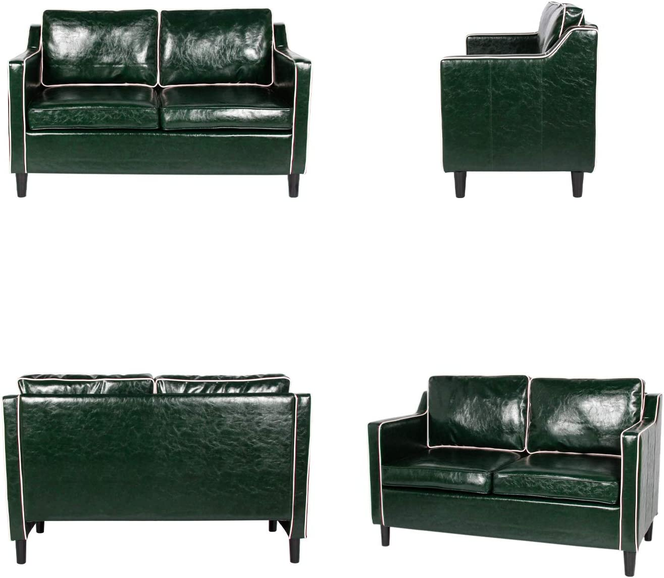 Furniture Mid Century Modern Loveseat Futon Sofa Couch Faux Leather Couches And Sofas For Living Room Office Couch 2 Seat Home Furniture Green Green White 1pc Loveseat Home Kitchen Startsolar Com Au