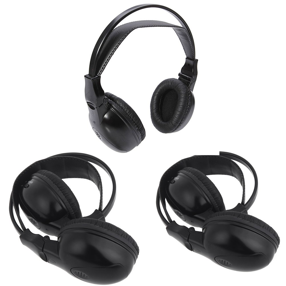 Wireless IR Mobile Video Stereo Headphones with Transmitter 3 Pack of Head Phone Two Channel Folding DVD Player Sets for in Car TV Video Audio Listening headsets