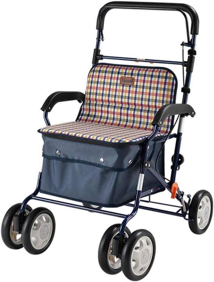 PNYGJZXQ Carro de Compras con Ruedas de Aluminio médico Carro de Compras for Anciano Trolley de Ejercicio Silla de Ruedas Plegable Caminante portátil Carro de Compras for el hogar con Asiento
