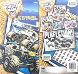 32 Monster Jam / Monster Trucks Valentines Day Cards W/ 32 Stickers, United States Hot Rod Assocation