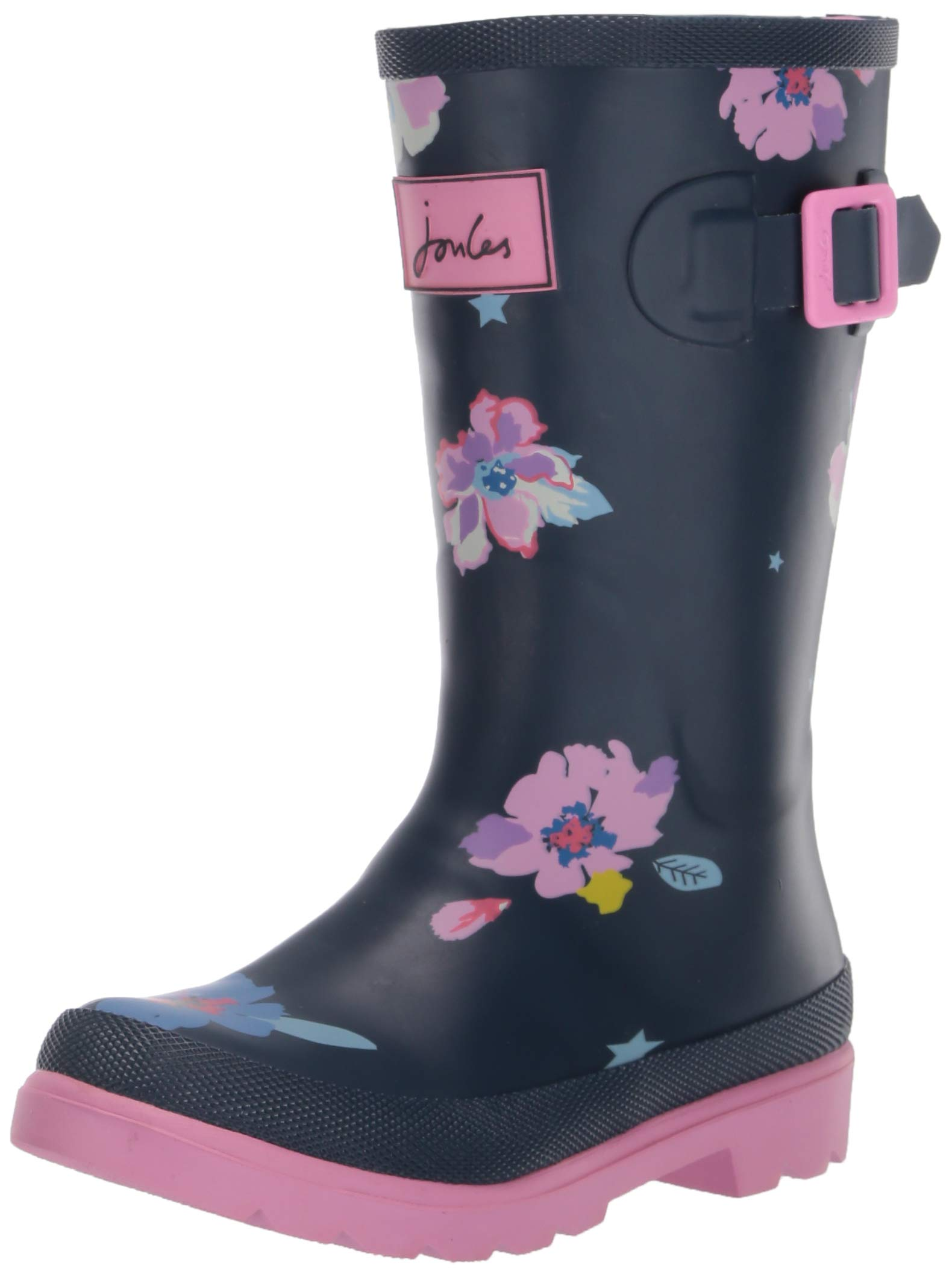 Joules Girls' JNR Welly Print Rain Boot Blue Confetti Floral 3 M US Little Kid