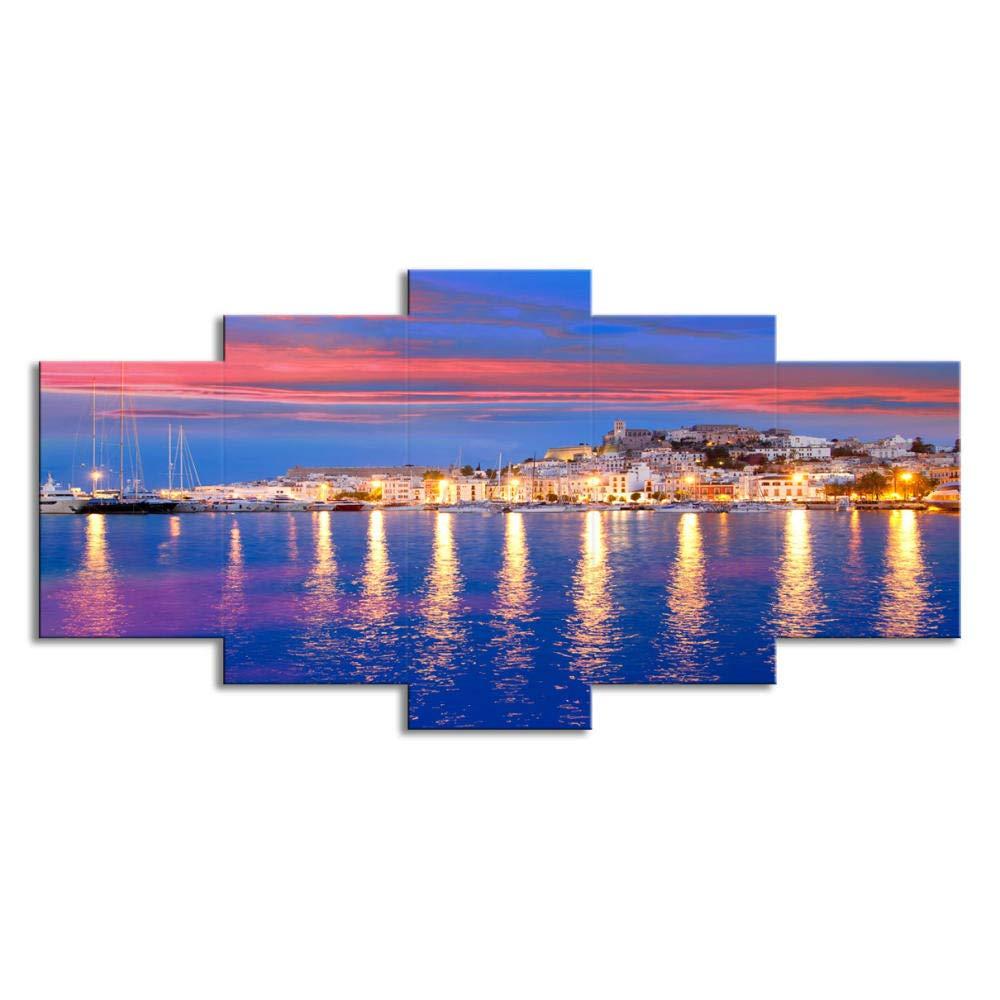Cuadro moderno en lienzo Regalo de Navidad decorado en lienzo de Ibiza Con marco/_40x60cmx2/_40x80cmx2/_40x100cmx1