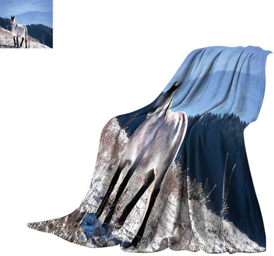 Caballos Extra Lager Mantas, Caballo en las Montañas Nevadas Cuerpo Noble Animales Salvajes en el Desierto de la Naturaleza Humana Super Suave Manta Extra Larga para Cama, 90